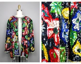 VTG Heavily Sequined Beaded Jacket // Retro Floral Sequin Jacket // Plus Size Sequined Jacket 1x 2x 3x