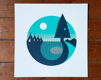"Outdoors Forest Camping Screen Print 12"" Art Poster by OR8 DESIGN"