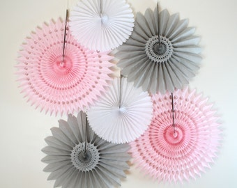 Baby Shower Decor- 6 Tissue Paper Fan Decoration Kit, baby girl shower, pink and gray