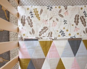 Floral Quilt / Wholecloth Quilt / Triangle Quilt - Baby Quilt / Toddler Quilt / Newborn Gift / Organic Quilt / Baby Shower Gift