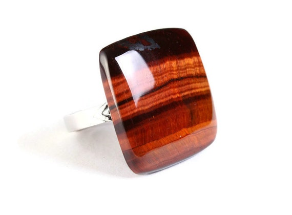 Unique natural brown Tiger eye adjustable silver ring OOAK (767B)