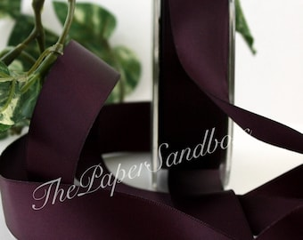 "Aubergine Double Faced Satin Ribbon, Eggplant Satin Ribbon, 7/8"" wide"