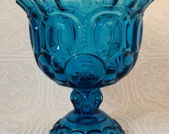 Vintage L.E. Smith Glass Moon and Stars Ruffled Footed Compote - Must See