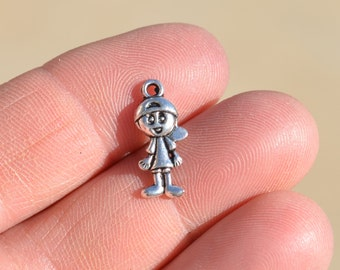 12  Silver Little Boy Charms SC1430