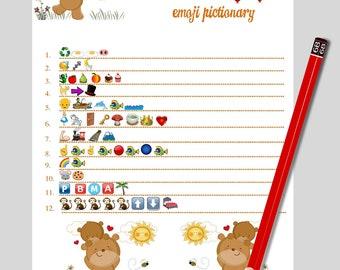 Beby Emoji Game Kids Book Pictionary Emoji Baby Game Baby Book Emoji Emoji Baby  Shower Baby Book Pictionary Pink Emoji Game Fan Pictionary
