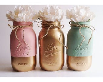 Pink and Mint Centerpieces, Gold and Pink, Mint Mason Jars