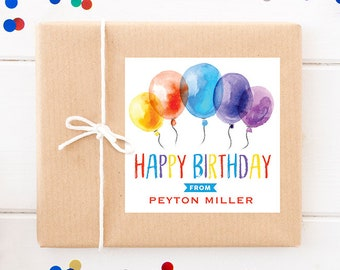 Personalized Birthday Gift Labels - Watercolor Balloons Birthday Present Stickers - Set of 12