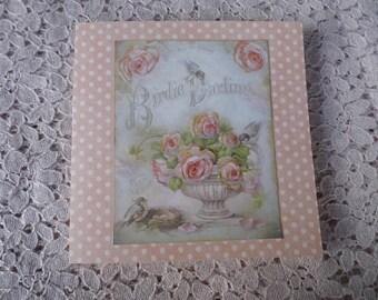 carte double motif fleurs style vintage