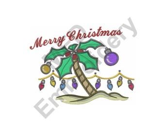 Merry Christmas - Machine Embroidery Design, Christmas, Tropical, Palm Tree, Christmas Tree