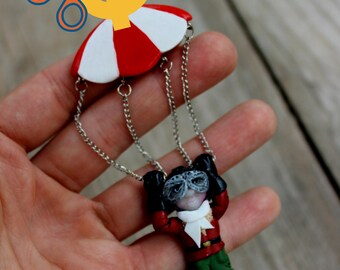 Skydiver brooch, boho polymer clay jewelry, Christmas gift for child, chutist with parachute made of fimo