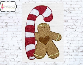 Gingerbread man machine embroidery design. Christmas embroidery with candy cane. Cute gingerbread embroidery for the holidays.