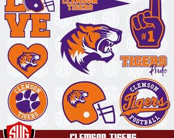 Clemson Tigers Monogram svg, Tigers Silhouette Studio,Clemson University Cricut, Screen Printing, Tiggers Cameo, Logo_21