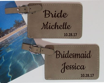 Wedding Party Luggage Tags - Set of 5 - Luggage Tags - Wedding Luggage Tags - Wedding Party Gift - Bridesmaid Gift - Destination Wedding
