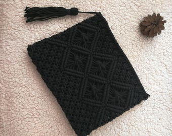 Handmade macrame black clutch bag -  Boho macrame bag-cotton rope tassel  bag width 10''x height 8""
