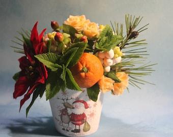 Clay Flower Home Decor. Christmas Decor.