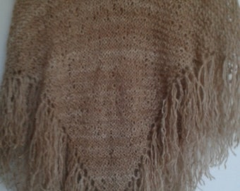 Pale gold Suri Alpaca Handspun handknit shawl