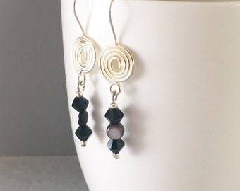 Black dangle earrings, black earrings, black beaded earrings, earrings black, black bead earrings