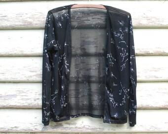 Sheer Black Mesh Jacket Top Floral 90s Vintage Painted Grunge Boho Mesh Vtg 1990s Size XS-S