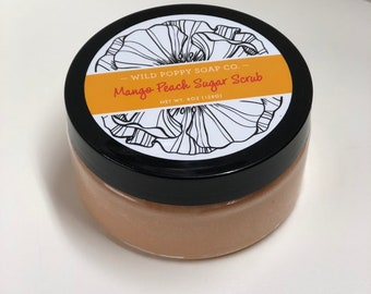 Mango Peach Sugar Scrub,Sugar Scrub, Natural Body Scrub,  Exfoliating Scrub