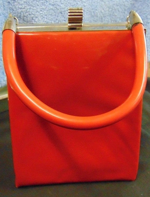 Eye Catching Red Vinyl Handbag