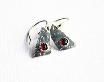 Garnet and Silver Trapezoid Earrings