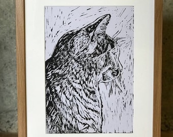 Original, Unframed, Hand Pulled, Linocut Print - Sonny the Cat - A4 print on A3 Paper - lino ink paper
