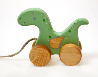 Wooden Dinosaur Toy, Dino Toy, Little Dragon Toy, Baby Dinosaur Toy, Pull Toys for Toddlers, Natural Wood Toys