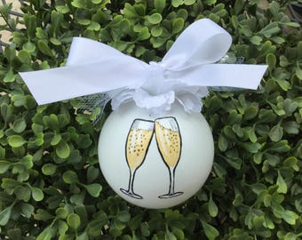Personalized Hand Painted Wedding Ornament - Wedding Champagne Toast Ornament