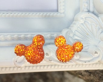 Mickey Mouse Rhinestone Earrings, Minnie Mouse Earrings, Disney Earrings, Disney Vacation Earrings, Rhinestone Stud Earrings, Orange