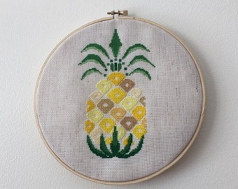 Yellow Pineapple cross stitch pattern instant download pdf