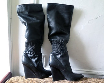 Casadei Pointed Toe Boots | Wedge Boots | Slouch Boots | Calf Boot | Black Leather Boots | Pull up  | Size 9 | Made in Italy