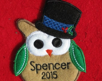 Owl Ornament or Gift Tag (Personalized, Monogrammed)