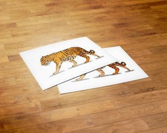 Illustrated Tiger on a Postcard (Part of the 'Save Our Stripes' Campaign)