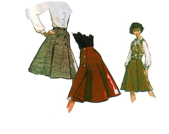 60s Wrap Skirt Pattern Steampunk Button Front Skirt pattern Vest pattern Blouse Pattern vintage Waist 28 inches McCalls 7015