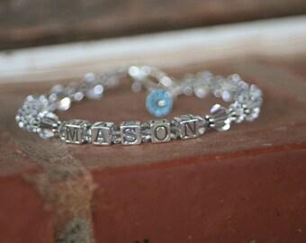 Custom Sterling Silver Block Letter Mommy MOTHER Bracelet 5 LETTERS