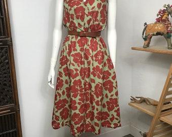 Vtg 70s floral cotton gauze sleeveless summer dress small