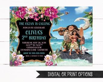 Moana Invitation, Moana Birthday Invitation, Digital Moana Invitation