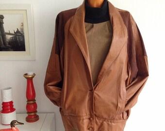 Vintage 80s women's brown leather jacket, Leather Coat Jacket, bomber biker Jacket. Size 46.