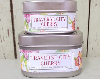 Traverse City Cherry 4 oz. Soy Candle - Green Daffodil - Handpoured - Siouxsan and Anne -C4