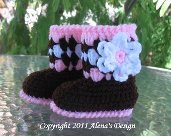 Crochet Pattern 019 - Brown Baby Booties with Flower  Baby Girl Baby Booties Pattern Crochet Booties Slippers Pattern Baby Shower Christmas