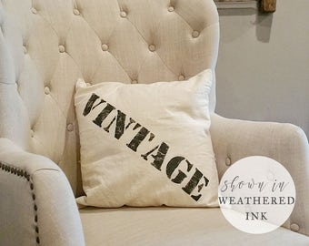 Vintage Pillow - Industrial Farmhouse Pillow - Rustic Farmhouse Style - Fixer Upper Style - Joanna Gaines - Modern Farmhouse Decor