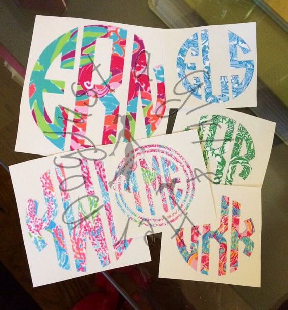 Items Similar To Lilly Pulitzer Monogram Decal Sticker Diy
