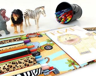 Safari Crayon Artist Case, Ready to ship, Crayon bag, Coloring tote, Art caddy, Crayon purse, Kids Organizer, Crayons and paper included
