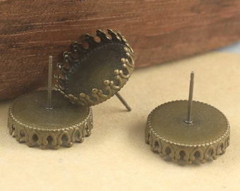 20 Earrings- Brass Antique Bronzed 15mm Round Bezel Setting Prong Crown Edged Post Earring W/ Matching Rubber Ear Nuts Wholesale- Z5575