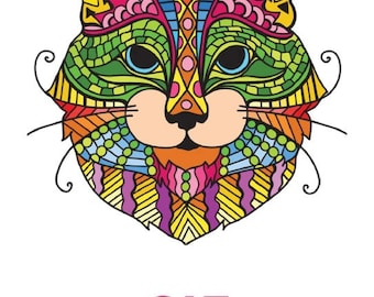 CATS: Printable adult coloring book, coloring pages, printable coloring book, digital pdf format