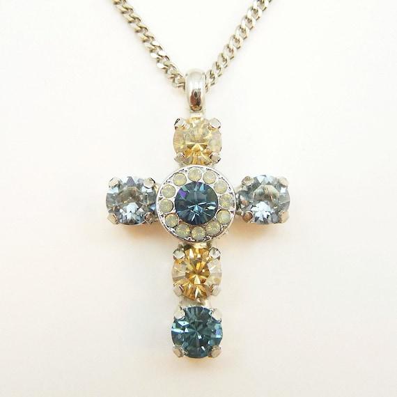 Navy blue brown cross necklace swarovski crystal cross pendant aloadofball Choice Image