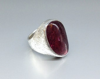 Statement pink Tourmaline ring set in Sterling silver - gift idea