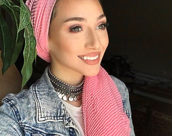 Foulard hijab plissés - rose