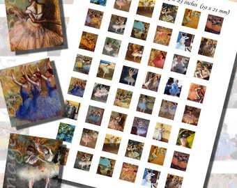 Edgar Degas Ballet Dancers Printables, SCRABBLE TILE SIZE (.75 x .83 Inches or 19 x 21 mm), 36 Paintings Included, 48 Total