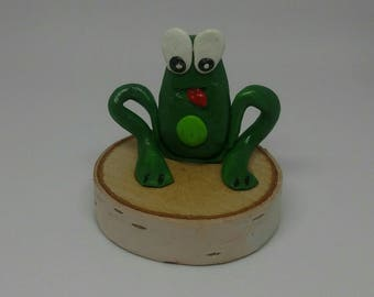 Fun little Frog Polymer clay Figurine Cake topper